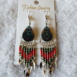 Painted ceramic teardrop and bead earrings new